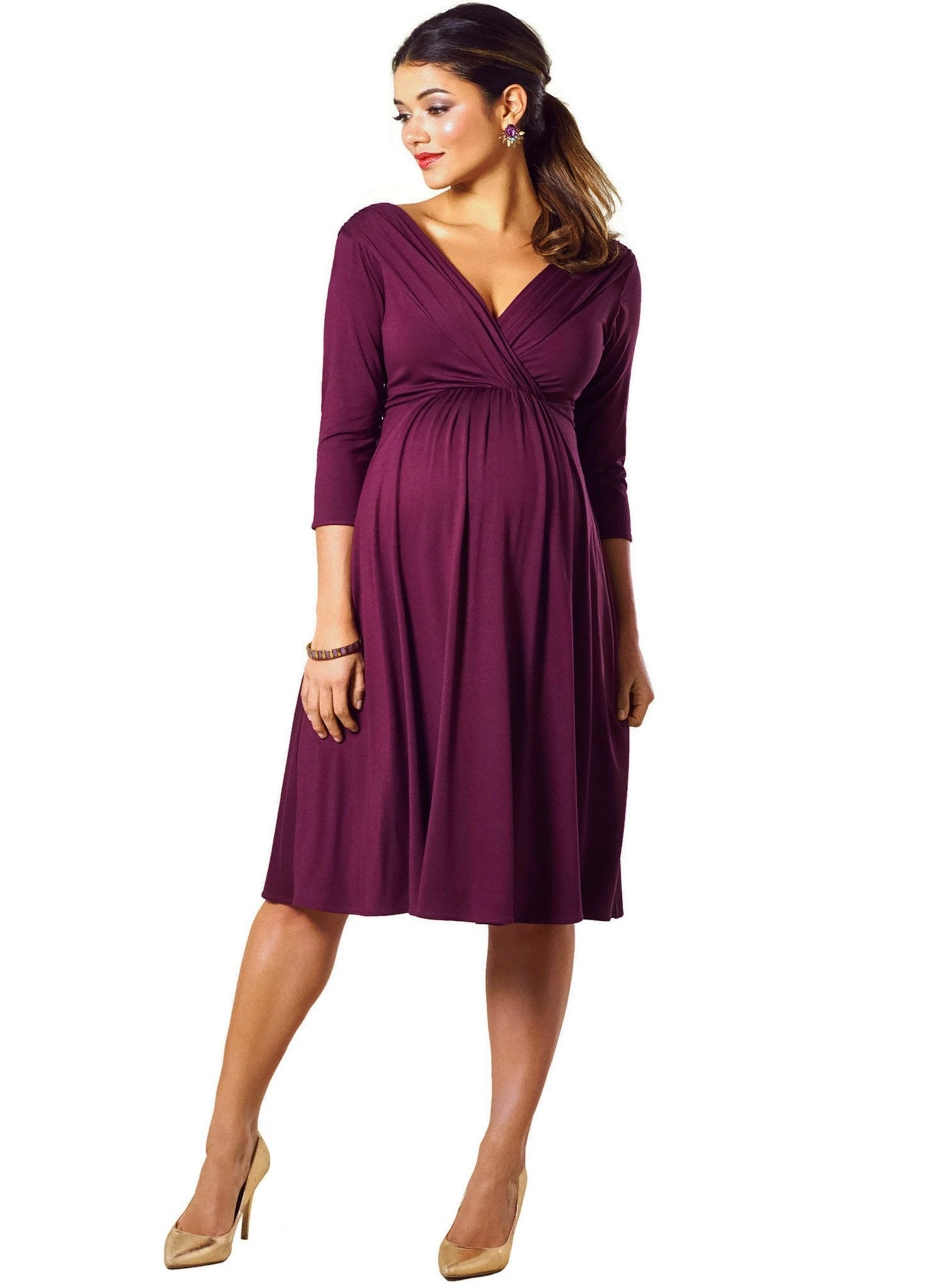 Willow Maternity Dress- Claret - Mums and Bumps