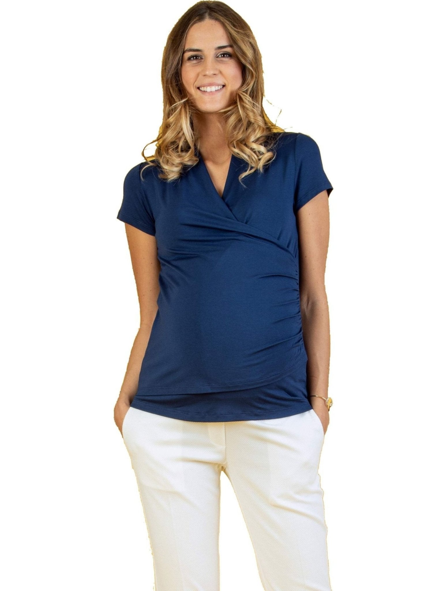 Wrap Maternity & Nursing Top - Blue - Mums and Bumps
