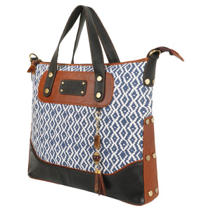Woodblock Navy Gail Tote