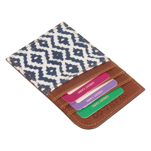 Woodblock Navy Card Holder