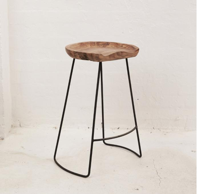 Demir Shaped Bar Stool with Iron Legs - Tall - Winston and Finch