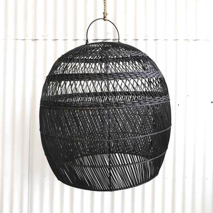 PREORDER - Daliah Rattan Oversized Light Shade Black - Winston and Finch