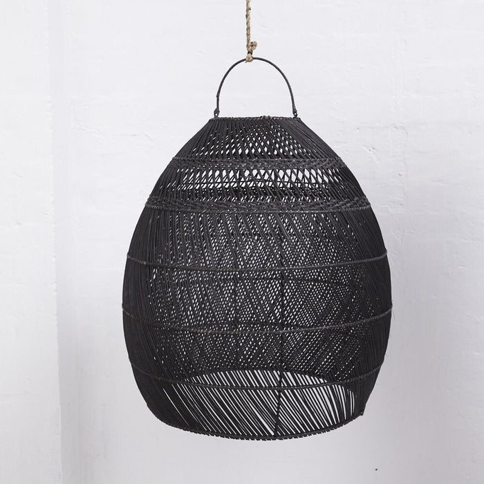 PREORDER - Daliah Rattan Slim Light Shade Black - Winston and Finch