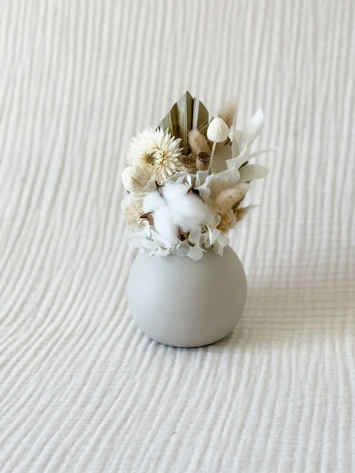 Preserved floral posy with cloud vase - Neutral - Winston and Finch