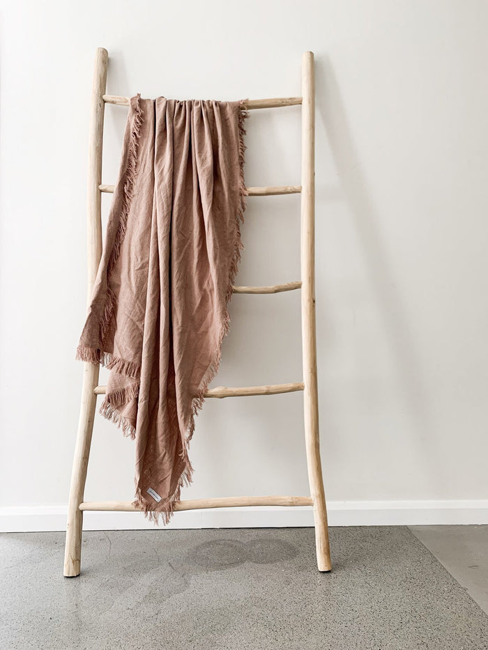 Ramie Fringed Throw - Blush - Winston and Finch