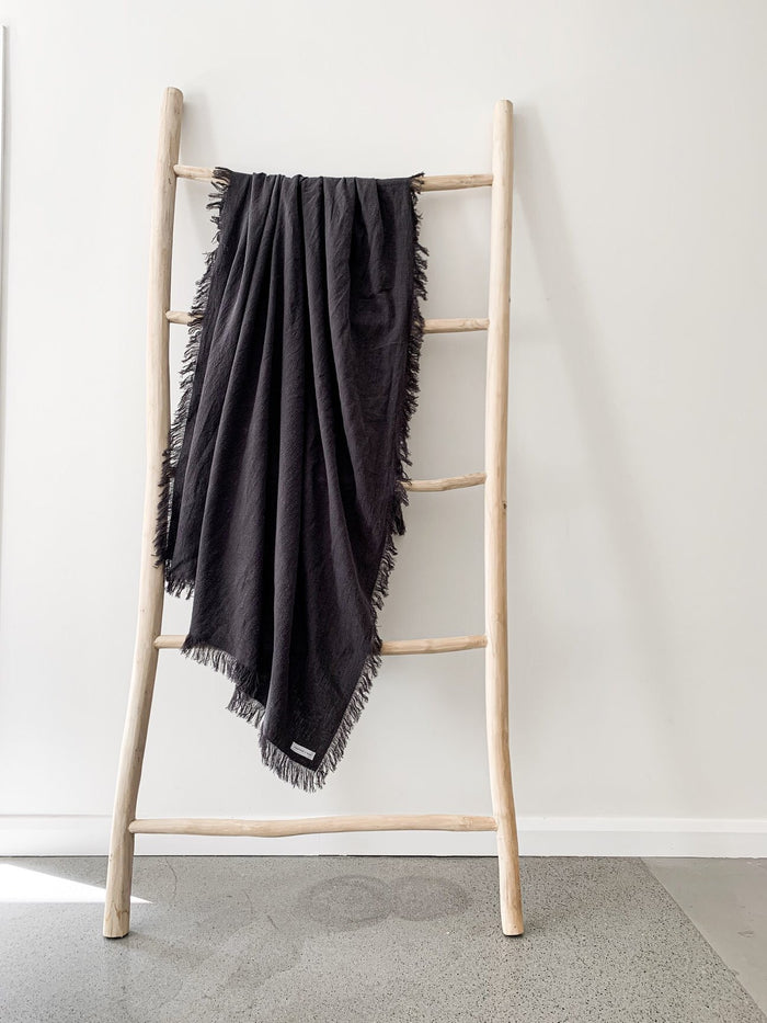Ramie Fringed Throw - Charcoal - Winston and Finch