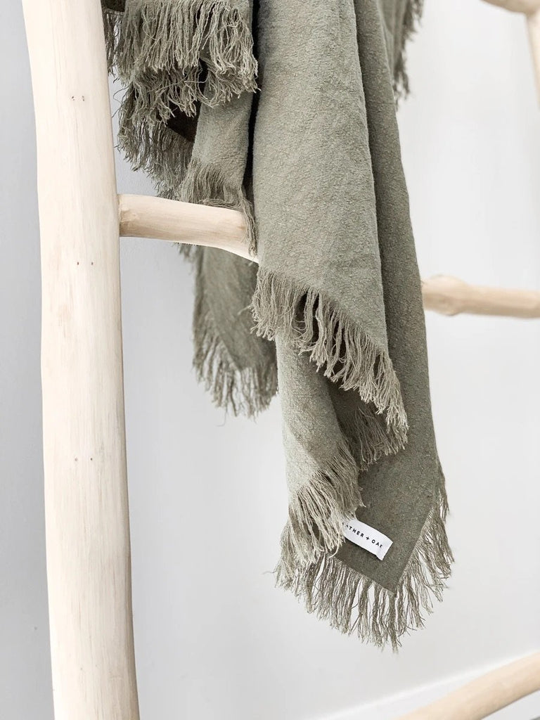 Ramie Fringed Throw - Olive - Winston and Finch