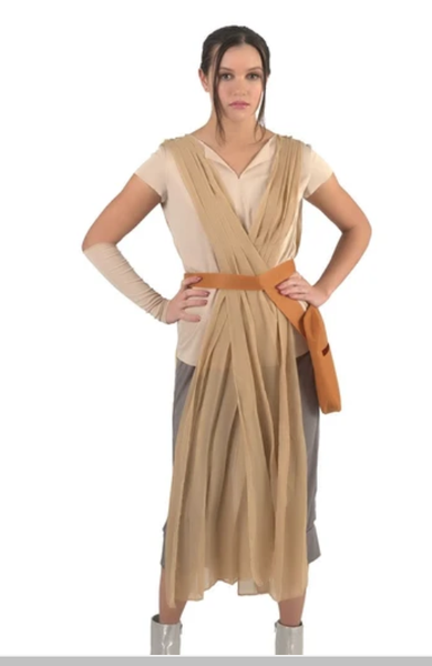 A girl wearing Force Awakens Rey Costume