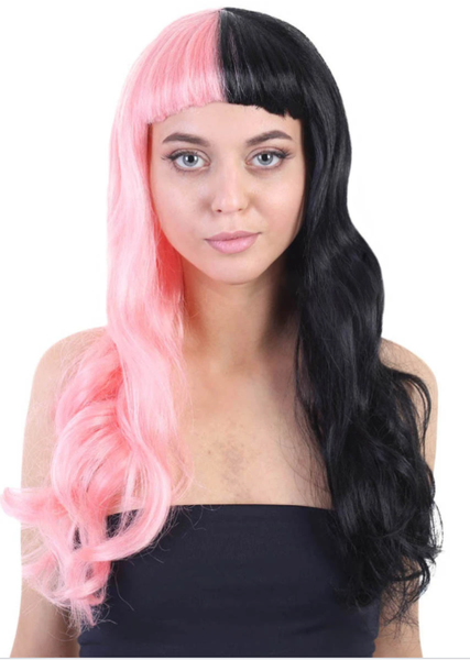 A girl wearing  Wavy Pink Womens Wig