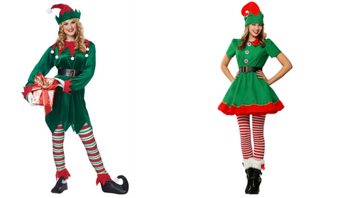 Two different styles of Elf christmas costumes for women