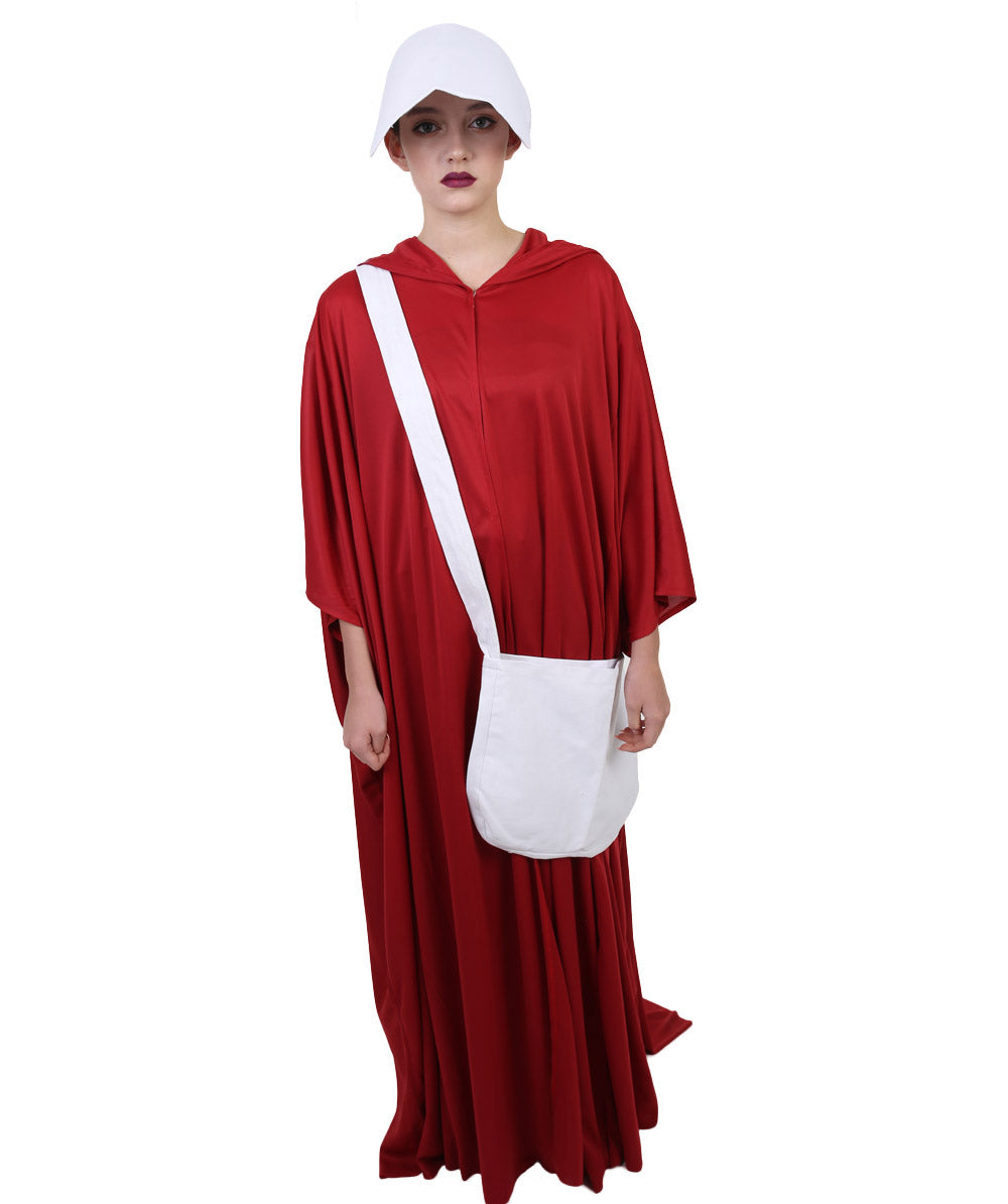 Adult Women/'s Robe Cosplay Handmaid Costume with Bag and Bonnet Halloween Party