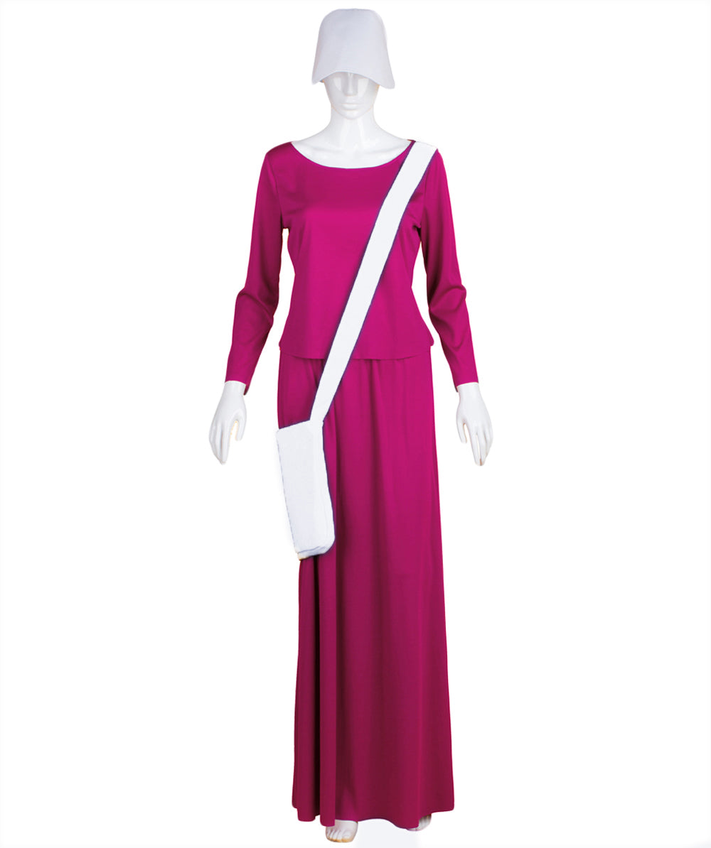 Adult Women's Purple Dress Handmaid Costume | Halloween Costumes with Bag and Bonnet