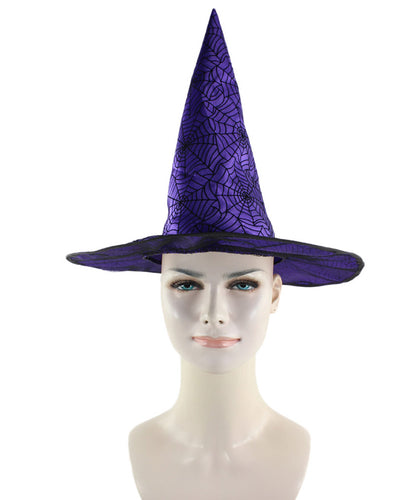 Purple & Black Spider Web Witch Hat