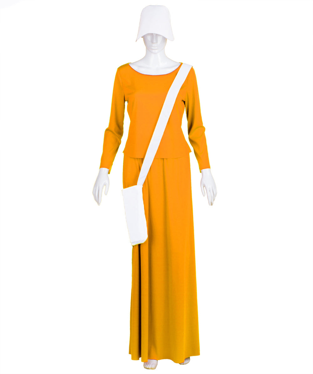 Adult Women's Orange Dress Handmaid Costume | Halloween Costumes with Bag and Bonnet