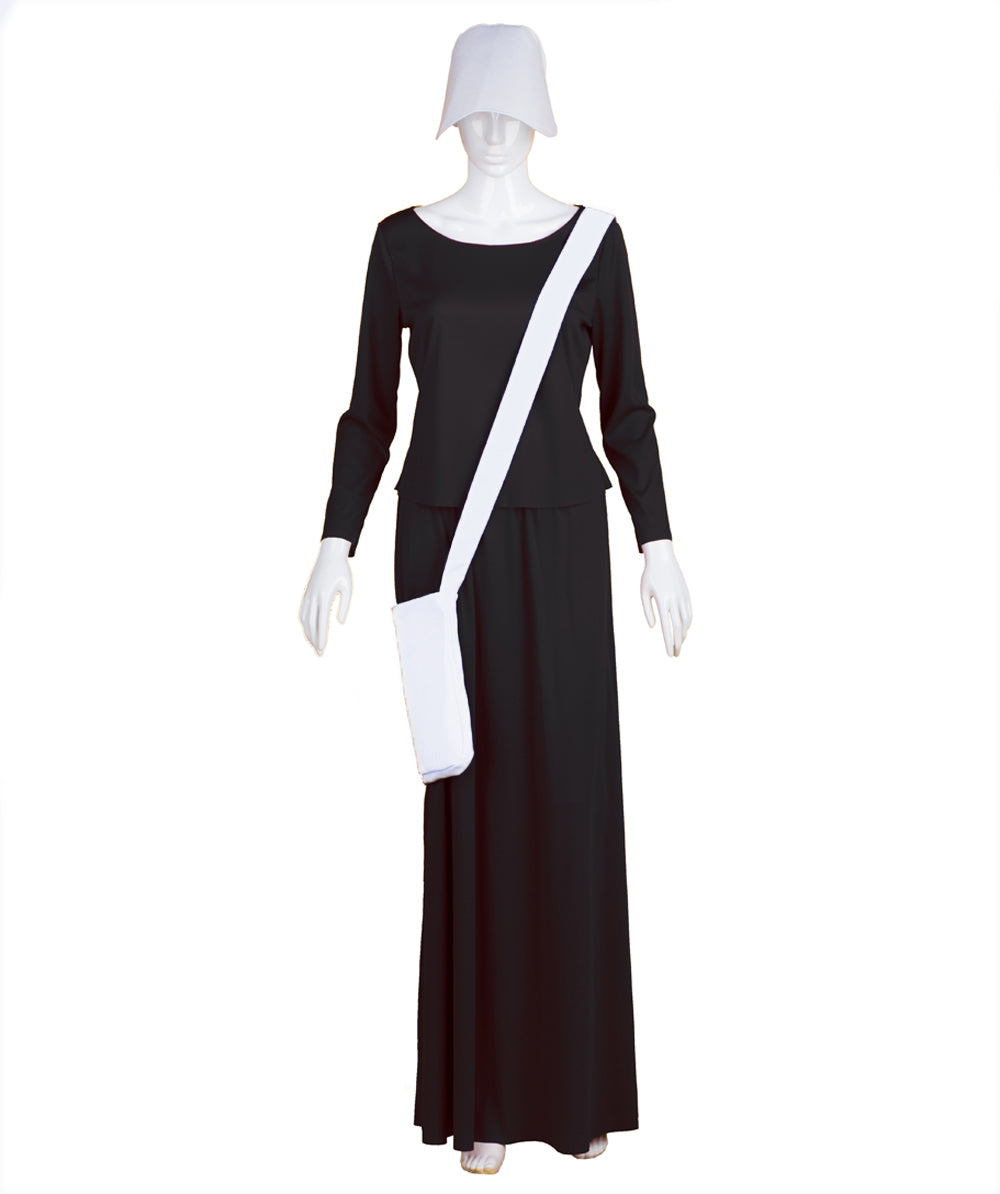 Adult Women's Black Dress Handmaid Costume with Bag and Bonnet