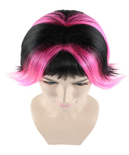 Short Pink & Black wig | Party Ready Fancy Cosplay Halloween Wig | Premium Breathable Capless Cap