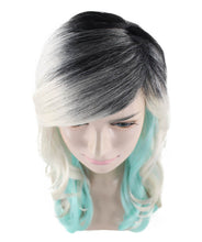 Long Wavy Grey and Blue Ombre Wig | Fancy Party Event Ready Halloween Wig | Premium Breathable Capless Cap