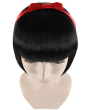 Snow Princess Wig | Black Bob Wig With Ribbon