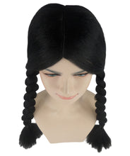 Wednesday Addams Braided Gothic Wig | Black TV/Movie Wigs | Premium Breathable Capless Cap