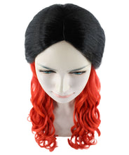 Black and Red Long Wavy Wig | Cosplay Halloween Wig | Premium Breathable Capless Cap