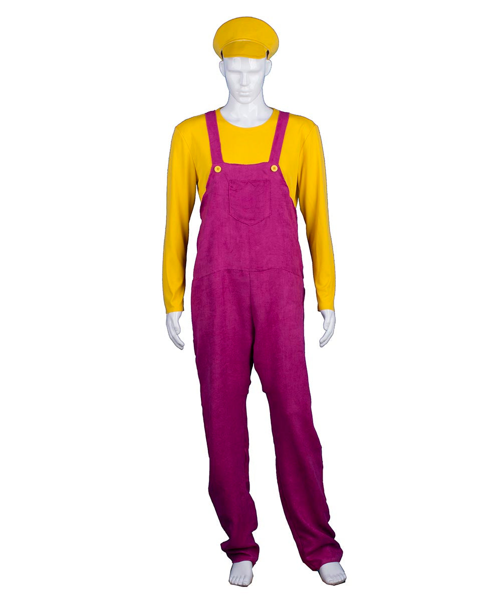 adult mens yellow bad plumber costume hc 373 halloweenpartyonline