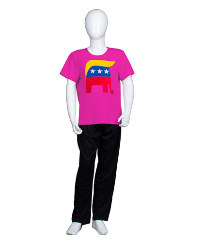 Kids Republican Elephant Trump Hair Style Hot Pink T-shirt | Halloween Cosplay Costume