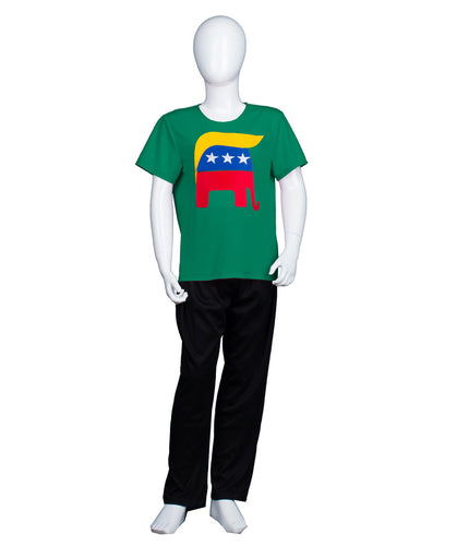 Kids Republican Elephant with Trump Hair Style Green T-shirt | Halloween Cosplay Costume