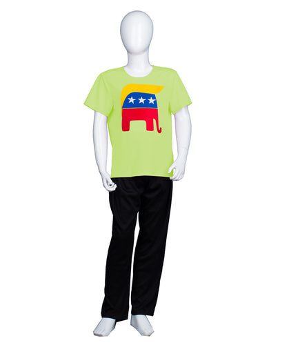 Kids Republican Elephant with Trump Hair Style Lime T-shirt | Halloween Cosplay Costume