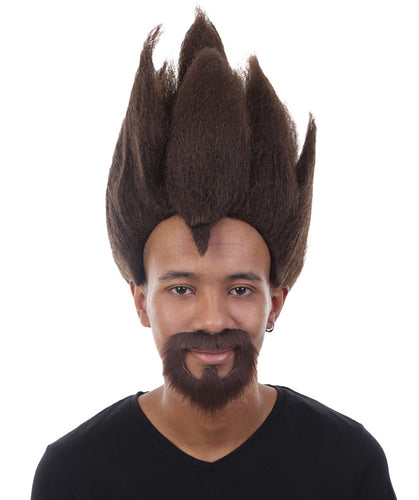 Dragon Ball Z Vegeta Wig and Full Beard Set | Vegeta Brown Spike TV/Movie Wigs
