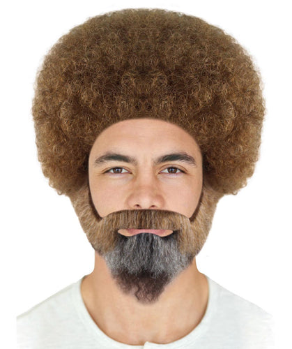 Bob Ross Small Afro Wig with Full Beard and Moustache Set | Brown Celebrity Wigs | Premium Breathable Capless Cap