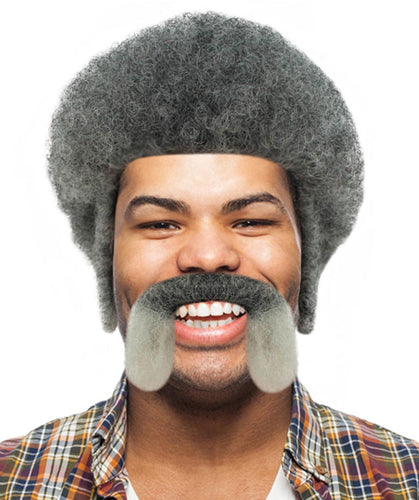 Uncle Drew Big Fella Wig with Moustache Set | Grey TV/Movie Wigs