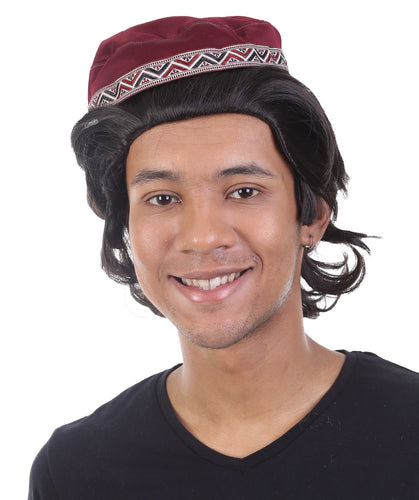 Aladdin Prince Wig with Hat Set | Dark Brown TV/Movie Wigs