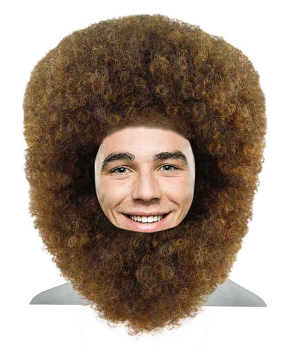Bob Ross Afro Wig with Full Beard Set | Cosplay Halloween Wig | Premium Breathable Capless Cap