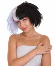 Melanie Crimped Ponytail Wig | Light Blue & Black Celebrity Wig | Premium Breathable Capless Cap