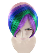 Short Rainbow Wig | Bob Party Ready Fancy Cosplay Halloween Wig | Premium Breathable Capless Cap