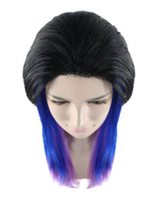 Black Purple and Blue Raving Wig | Cosplay Halloween Wig | Premium Breathable Capless Cap