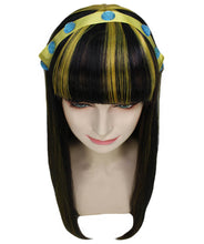 Monster High Cleo De Nile | Black Gold Long Cosplay Halloween Wig | Premium Breathable Capless Cap