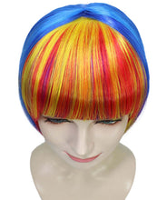 Rainbow Bob Wig | Party Ready Fancy Cosplay Halloween Wig | Premium Breathable Capless Cap