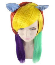 Rainbow Unicorn Wig | Colorful Party Ready Fancy Cosplay Halloween Wig | Premium Breathable Capless Cap