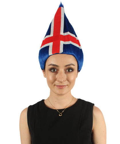 Iceland Flag Sport Troll Wig | National Pride Red Blue White Wig