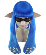 Splatoon Blue Inkling Girl Wig and Ears with Mask Set | Blue Video Game Wigs | Premium Breathable Capless Cap