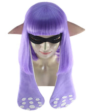 Splatoon Purple Inkling Girl Wig and Ears with Mask Set | Purple Video Game Wigs | Premium Breathable Capless Cap