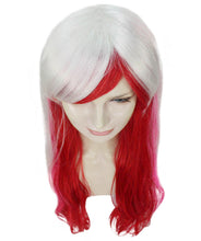 Fashion Lady Cosplay Long Curly Wavy Wig | White & Red Party Wigs