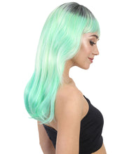Glamour Green Wig | White Green Long Fancy Party Wig | Premium Breathable Capless Cap