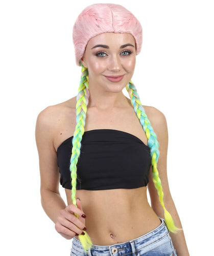 Kylie Jenner inspired Boxer Braid Wig | Cotton Candy Rainbow Celebrity Wig | Premium Breathable Capless Cap