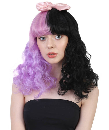 Melanie Dolly Wig | Pink Bow Purple & Black Wig | Premium Breathable Capless Cap