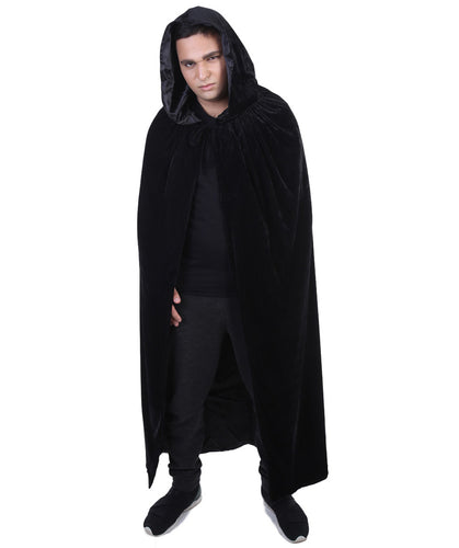 Adult Men's Black Vampire Cape | Grey Robe Horror Halloween Costume