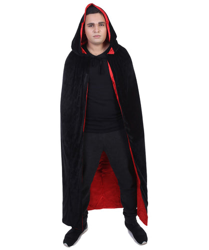 Men's Reversible Hooded Cape Costume | Black Cosplay Costume