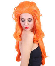 Singer Gaga Wig | Orange Long Pop Star Wig | Premium Breathable Capless Cap