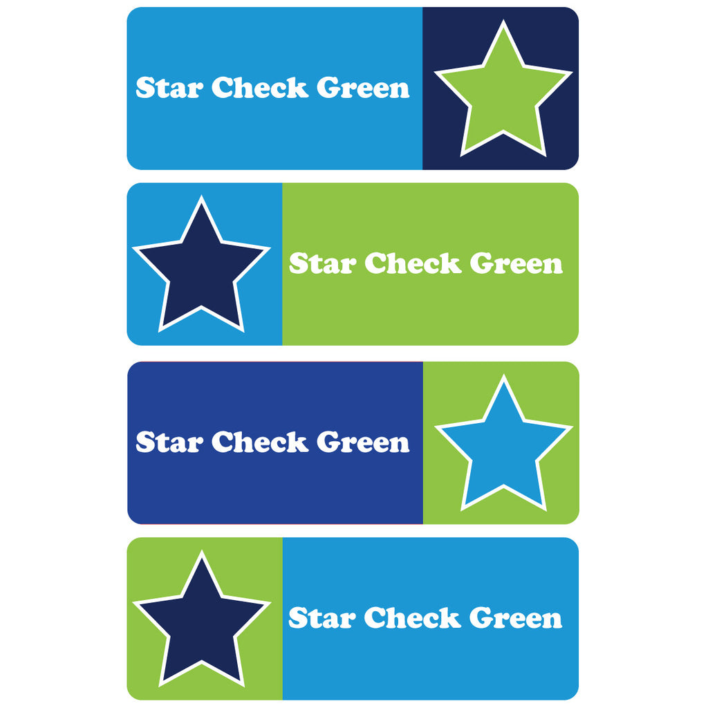 Stars and Checks Green Essentials Labels - 92 Labels